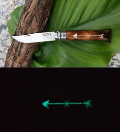 """OPINEL my CUSTOM nº 9 - """"ADVENTURE AWAITS"""" - Carbon Steel Folding pocket Knife*  Handle - Beechwood Shou Sugi Ban Torched  / Glowing in the Dark arrow and finnished with Cyanoacrylate"""