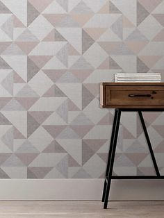 Fine Décor Melrose Grey Geometric Metallic effect Smooth Wallpaper - B&Q for all your home and garden supplies and advice on all the latest DIY trends Charcoal Color Palette, Decor, Black Decor, Diy Wallpaper, Wallpaper, Modern Wallpaper, Wallpaper Roll, Home Decor, Diy Trends