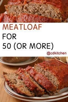 Meatloaf for 50 (or more) - Serving a large group doesn't have to be difficult. This scalable meatloaf recipe not only tastes good but is simple to prepare. There are also different flavor variations to try. Made with , brown sugar, dry mustard, ketchup, Meatloaf Recipes, Beef Recipes, Cooking Recipes, Crowd Recipes, Catering Recipes, Catering Menu, Catering Ideas, Cooking Videos, Kitchens