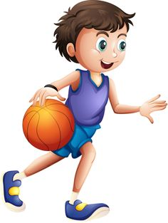 Illustration of an energetic young man playing basketball on a white background Illustration ,