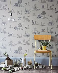 This fresh and fun wallpaper will excite any dinosaur enthusiast. From designer Sian Zeng- available in this soft grey colourway - and more. Grey Wallpaper, Wallpaper Roll, Kids Wallpaper, Boys Bedroom Wallpaper, Dinosaur Wallpaper, Cosy Home, Deco Kids, Wallpaper Samples, All Nature