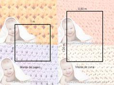 Medidas de cobijas de bebés Manta Crochet, Knitting, Diy, Tutorials, Crochet Bag Patterns, Crochet Blankets, Crocheted Afghans, Fleece Baby Blankets, Embroidered Baby Blankets