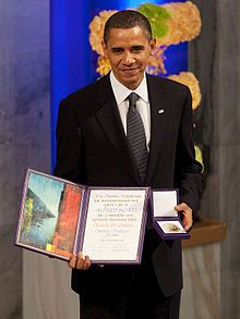 "The 2009 Nobel Peace Prize was awarded to U.S. President Barack Obama ""for his extraordinary efforts to strengthen international diplomacy and cooperation between people.""[1] The Norwegian Nobel Committee announced the award on October 9, 2009, citing Obama's promotion of nuclear nonproliferation[2] and a ""new climate"" in international relations fostered by Obama, especially in reaching out to the Muslim world.[3][4]"