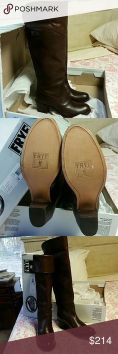 Like new Frye Jane Tall Cuff Beautiful Frye boots. Very slight scuffing on soles (see pic).  Other than that, they are in like new condition.  Worn over the knee or cuffed.  Original box. Frye Shoes Heeled Boots