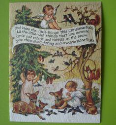 Vintage Brownie Christmas Card-Angels Deer Rabbits Squirrels Birds