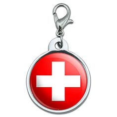 Chrome Plated Metal Small Pet ID Dog Cat Tag Country National State Flag SZ  Switzerland Swiss Flag >>> Read more  at the image link.