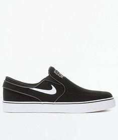 ab9e0e215b667f New Nike SB Janoski Black  amp  White Slip-On Canvas Skate Shoes Boy s Sz