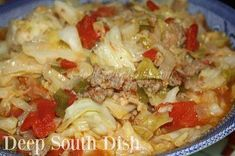 Smothered Southern Cabbage with Sausage   Cabbage, tomatoes, sausage, bell pepper, onion