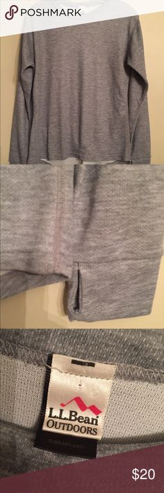 """LL Bean Outdoors gray long sleeve pullover New, not worn but laundered. Size Medium. Width across chest front 19 inches. Length 23""""'front, 25""""'back. Thumbhole cuffs. L.L. Bean Shirts Tees - Long Sleeve"""