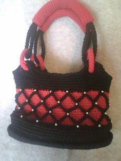 OOAK Handbag, Crochet with Netting, Pearl Beads.