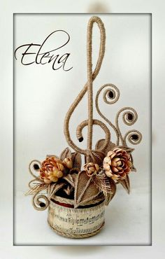 Twine Crafts, Yarn Crafts, Diy And Crafts, Arts And Crafts, Sisal, Jute Flowers, Paper Flowers, Coffee Bean Art, Cafe Art