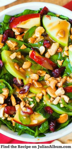 Apple Cranberry Spinach Salad with Balsamic Vinaigrette - healthy delicious…
