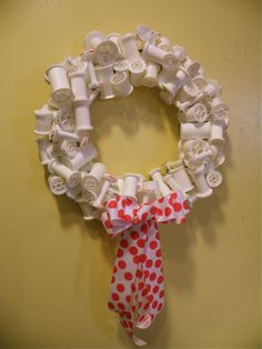 Spool wreath for my sewing room door. I've been collecting wooden spools of thread at thrift shops and will use those (with the thread still on them) for my wreath.