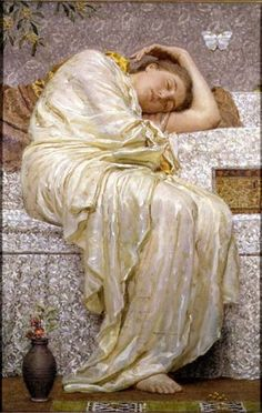 Acacias by Albert Joseph Moore(1841–1893) was an English painter, known for his depictions of langourous female figures set against the luxury and decadence of the classical world.