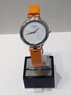 Ladies Citizen EcoDrive white with orange strap Citizen Eco, Watches, Orange, Lady, Leather, Accessories, Wristwatches, Clock, Ornament