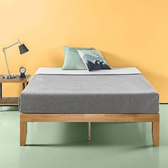 Amazon.com: Zinus Moiz 14 Inch Wood Platform Bed / No Box Spring Needed / Wood Slat Support / Natural Finish, Full: Kitchen & Dining Low Platform Bed, Solid Wood Platform Bed, Platform Bed Frame, Master Suite, Eclectic Modern, Modern Spaces, Small Spaces, Wooden Bed Frames, Geometric Decor