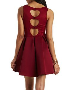 Pleated Scuba Skater Dress: Charlotte Russe