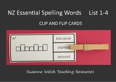 New Zealand Essential Spelling Lists & and Flip& cards - look at the word frame and decide which word fits the frame. Place a peg on that word. Flip the card over and see if you are correct! You can use these cards as a literacy centre activity. Word Study, Word Work, Activity Centers, Literacy Centers, School Resources, Teaching Resources, Spelling Words List, Flip Cards, Sight Words