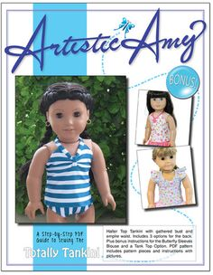 Tankini Swimsuit and Top 18 inch Doll Clothes Pattern PDF Download | Pixie Faire