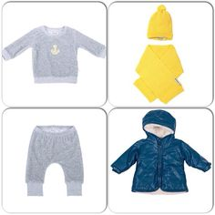 Blazing yellow & Icy Grey combo perfect for biys this season. Available from bluesandbows.co.uk #babyboutique #babycouture #kidsfashion As shown cotton velour Anchor Sweater and matching bottoms, matching hat & scarf in Blazing yellow and Blue Lex A Line Coat. Visit bluesandbows.co.uk