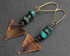 Hoop earrings Big hoops Copper earrings por RusticCopperStudio