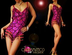 CHARISMATICO Showgirl's scale patterned sequined purple dance leotard with beaded details