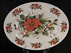 Berkshire Poinsettia Stroke On Trent English Bone China Platter