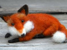 Red Fox  Miniature  Needle Felted Ornaments by feltingdreams