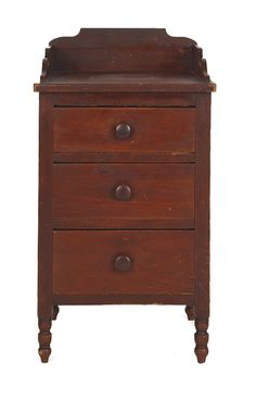 Unusual Pennsylvania Sheraton painted pine wash stand, ca. 1820, retaining an old red surface, 34.75 H. x 19 W.
