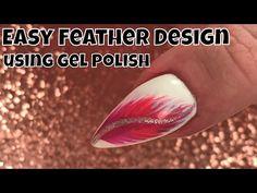 Easy Feather Design using Gel Polish - YouTube