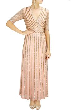 SPORTY SPICE : Powder pink sequin striped gown by Huemn. Shop at www.perniaspopups... #designer #collection #sporty #huemn #buy #collection #fashion #style #shopnow #perniaspopupshop #happyshopping