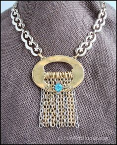 Substantial Victorian Buckle Necklace with Thick Fringe - Vintage Choker - Jewelry Redesign / Assembly / Collage Art