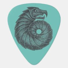 Guitar Pick AMMONITE black on hazey blue Irish Celtic, Dragon Slayer, Greek Art, Ammonite, Guitar Picks, Future, Blue, Future Tense