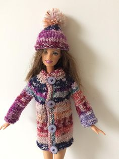 Multicoloured sweater and pompom hat for Barbie. OOAK hand made hat and coat fot 12inch fashion doll.