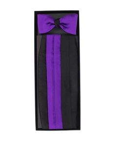 93% OFF Gitman Brothers Men's Saltin Cummerbund with Reversible Self-Tie Bow Tie Set (Black/Purple)