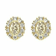 14K Yellow Gold Plated Our Lady Guadlupe CZ Stud Earrings with Screw-back for Children & Women The World Jewelry Center. $11.95. Screw Back. Promptly Packaged with Free Gift Box and Gift Bag. Save 62%!
