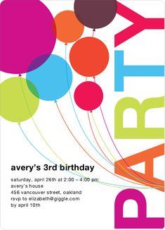 balloon birthday party invitation | Rainbow Balloons Birthday Party Invitations - Multi