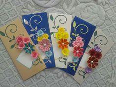 Envelope Paper Quilling Flowers, Paper Quilling Designs, Quilling Patterns, Quilling Jewelry, Quilling Craft, Paper Jewelry, Decorated Envelopes, Handmade Envelopes, Diy Envelope