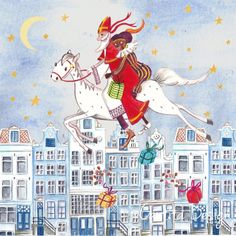 © Cartita Design - Sinterklaas - zwarte Piet - maan - greeting card - 5 december - illustration
