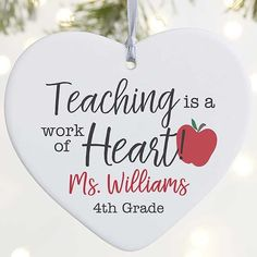 design will feature any name or title along with an additional line of text below the name Large heart ornament may be displayed on a Christmas Tree or ornament standIncludes a ribbon for easy hanging; some assembly requiredMeasures 4 Daycare Teacher Gifts, Science Teacher Gifts, Love Teacher, Teacher Christmas Gifts, Pink Christmas Ornaments, Our First Christmas Ornament, Personalized Christmas Ornaments, Christmas Tree, Christmas Ideas