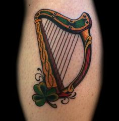 irish celtic gaelic harp tattoo