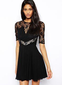 Black Short Sleeve Sheer Mesh Lace Dress 20.17