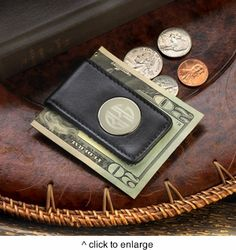 Personalized Leather Magnetic Money Clip #PersonalizedMoneyClip #moneyclip