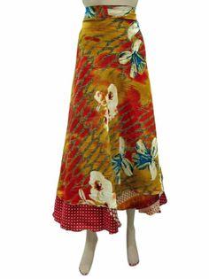 Amazon.com: Silk Wrap Skirt Vintage Sari Orange Reversible Wrapskirt Beach Skirt: Clothing