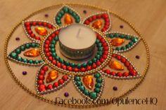 Handmade kundan rangoli as tealight candle decoration. Thali Decoration Ideas, Diy Diwali Decorations, Festival Decorations, Cd Crafts, Diy Arts And Crafts, Crafts To Sell, Rangoli Designs Flower, Rangoli Ideas, Diwali Diy