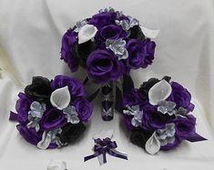 Wedding Silk Flower Bridal Bouquets Package Calla Lily Black Purple Eggplant  Plum Roses Silver Grey Bride's Bouquet Boutonniere Corsages