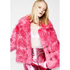Fuzzy Button Up Pink Coat ($140) ❤ liked on Polyvore featuring outerwear, coats, hot pink, button up coat, pink coat, fuzzy coat, pink fuzzy coat and button down coat