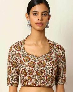 Buy Women's Blouses online in India. Blouse Back Neck Designs, Simple Blouse Designs, Stylish Blouse Design, Kalamkari Blouse Designs, Cotton Saree Blouse Designs, Kurta Designs, Kalamkari Dresses, Sari Blouse, Designer Blouse Patterns