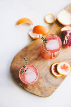blood orange wine cocktails with campari + thyme | holly & flora