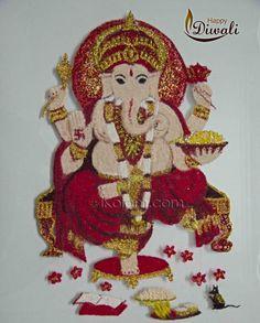 Kolam and Rangoli designs Ganesh Rangoli, Rangoli Designs, Diwali, Art Forms, Cool Designs, Christmas Ornaments, Create, Holiday Decor, Pattern